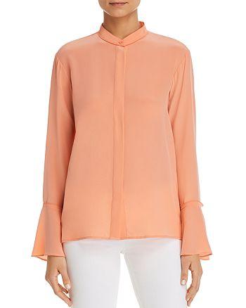 Donna Karan - Silk Button-Down Bell-Sleeve Top
