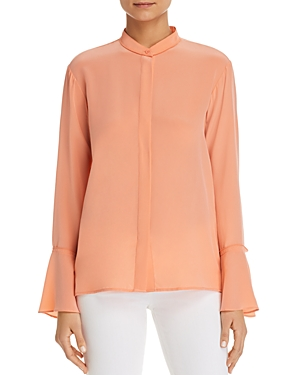 Donna Karan Silk Button-Down Bell-Sleeve Top