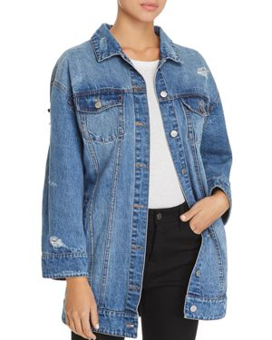 EMBELLISHED DISTRESSED DENIM JACKET - 100% EXCLUSIVE