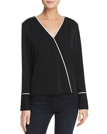 Cooper & Ella - Mariana Piped Faux-Wrap Top