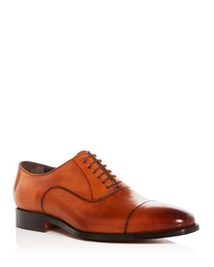 Men'S Knoll Leather Cap Toe Oxfords, Cognac Leather