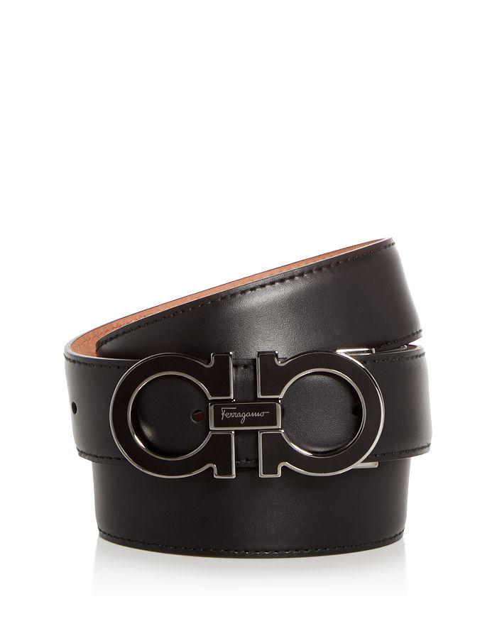 Salvatore Ferragamo - Men's Enamel Double Gancini Leather Belt
