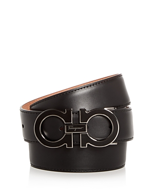 Salvatore Ferragamo Men's Enamel Double Gancini Leather Belt
