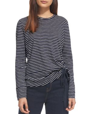 Whistles Striped Ruch-Detail Tee