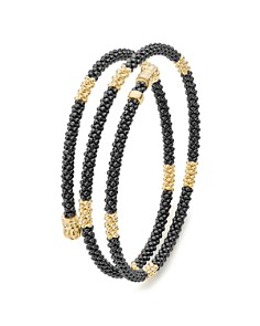 LAGOS - Gold & Black Caviar Collection 18K Gold & Ceramic Coil Bracelet