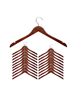 Honey Can Do - Cherry Wood Shirt Hanger, Set of 20