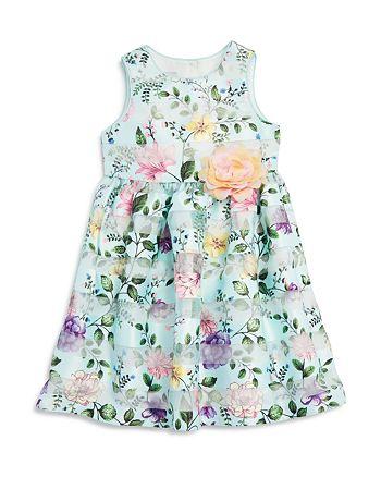Pippa & Julie - Girls' Floral Shadow-Stripe Dress & Bloomers Set - Baby