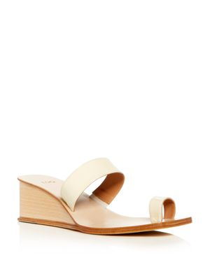 LOQ WOMEN'S PATENT LEATHER WEDGE SLIDE SANDALS