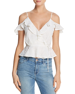 Astr April Cold-Shoulder Eyelet Wrap Top