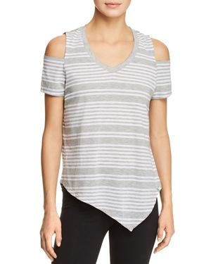 Marc New York Performance Striped Cold-Shoulder Tee