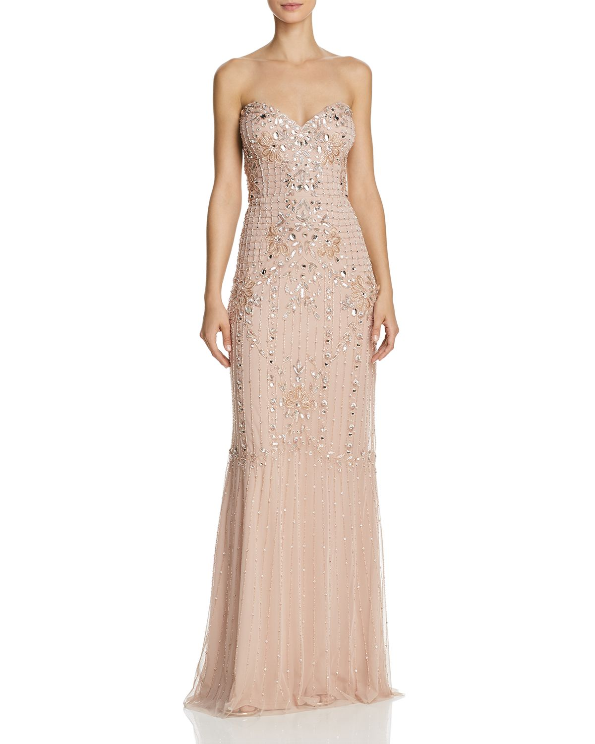Strapless Jeweled Gown by Aidan Mattox