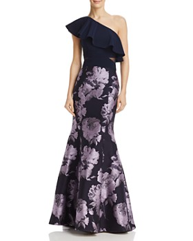 AQUA - One-Shoulder Brocade Gown - 100% Exclusive