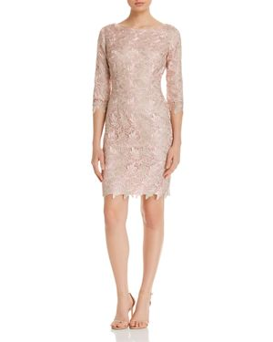 Eliza J Metallic-Lace Sheath Dress