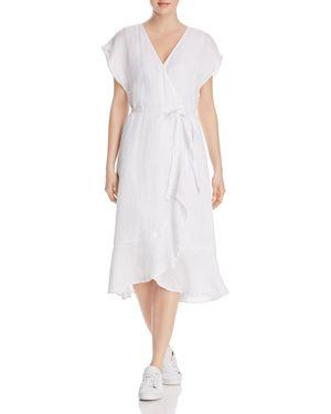 Filma Back Cutout Linen Wrap Dress, Porcelain