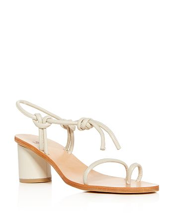 8ae6e884004 LoQ - Women s Leather Ankle Tie Cylinder Heel Sandals