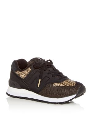 WOMEN'S 574 TECH RAFFIA LACE UP SNEAKERS