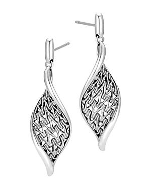 John Hardy Sterling Silver Classic Chain Wave Drop Earrings