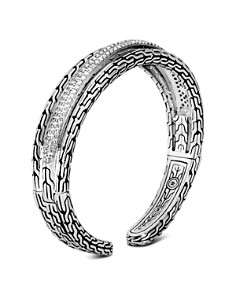 John Hardy Sterling Silver Classic Chain Pavé Diamond Small Kick Cuff - 100% Exclusive - Bloomingdale's_0