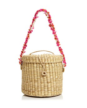 Nannacay - Ana Cherry-Blossom Straw Bucket Bag