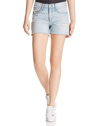 rag & bone/JEAN - Frayed-Hem Boyfriend Denim Shorts