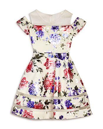 US Angels - Girls' Floral Cold-Shoulder Dress - Big Kid