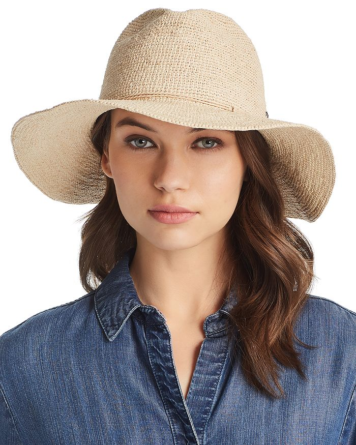 Helen Kaminski Raffia Crochet Packable Sun Hat In Natural