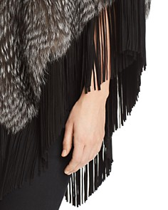 Maximilian Furs - Suede-Trim Silver Fox Fur Poncho - 100% Exclusive