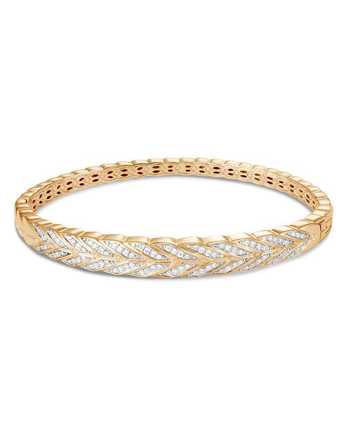 JOHN HARDY - 18K Yellow Gold Modern Chain Pavé Diamond Hinged Bangle