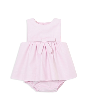Jacadi Girls' Striped Pique Cotton Bow Dress & Bloomers Set - Baby