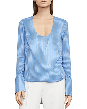 Bcbgmaxazria Ginevra Striped High/Low Faux-Wrap Top