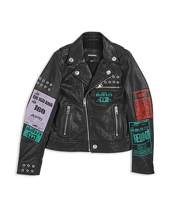 Diesel - Boys' Tour-Patch Graphic Leather Moto Jacket - Big Kid