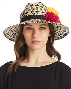 Helene Berman Pom-Pom Trim Geometric Panama Hat - Bloomingdale's_0