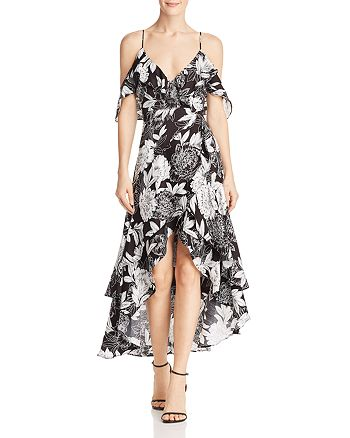 Bardot - Floral Cold-Shoulder Faux-Wrap Dress