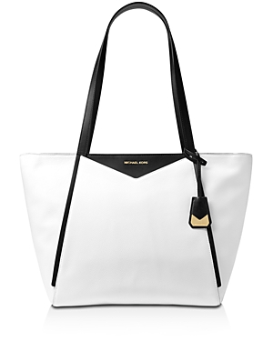 59705951a6ac MICHAEL MICHAEL KORS LARGE COLORBLOCK LEATHER SHOULDER TOTE BAG, OPTIC WHITE