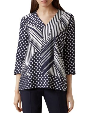 SHELLY MIXED PRINT TOP
