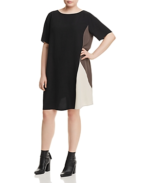 New Eileen Fisher Plus Silk Color Block Shift Dress, Black