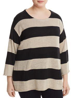 Eileen Fisher Plus Organic Linen Awning-Stripe Sweater