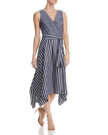 Lafayette 148 New York - Demetria Striped Faux-Wrap Midi Dress