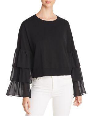 Michael Michael Kors Tiered Contrast-Sleeve Sweater