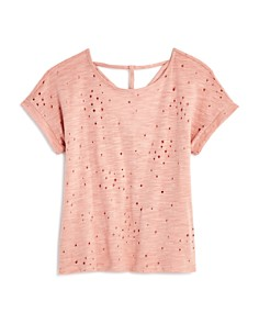 AQUA Girls' Distressed Tee with Back Cutouts, Big Kid - 100% Exclusive - Bloomingdale's_0