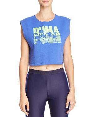 Fenty Puma X Rihanna Logo Cropped Tank, Blue