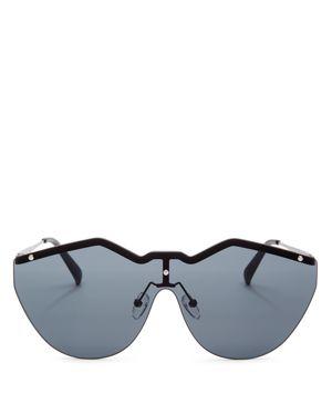 LE SPECS Women'S Noir De Vie Shield Sunglasses, 143Mm, Matte Black/Smoke