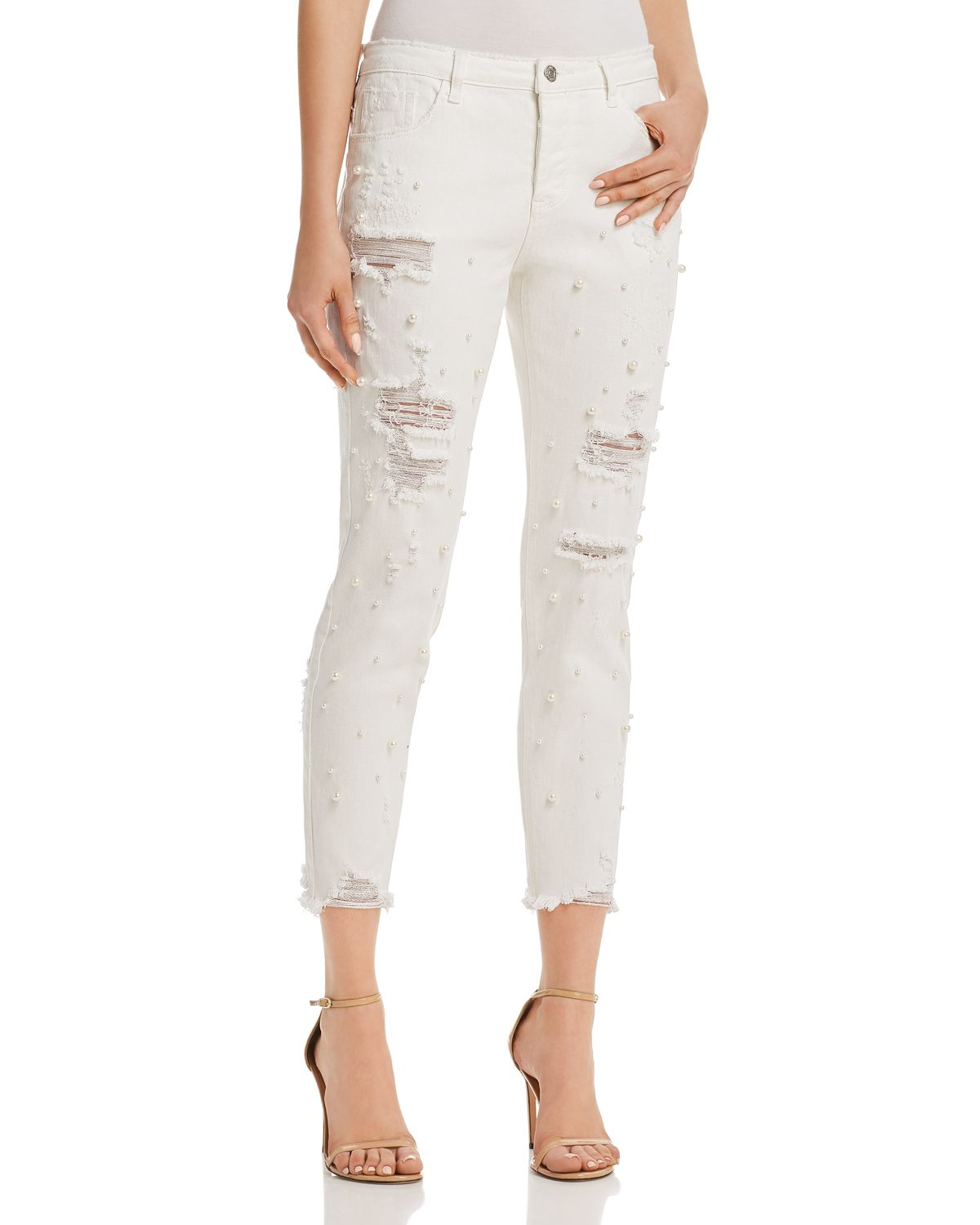 Embellished Distressed Straight Leg Jeans In White   100 Percents Exclusive  by Sunset & Spring