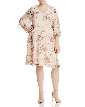 New B Collection by Bobeau Curvy Brooker Floral-Print Dress, Botanical