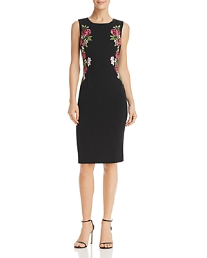 Adrianna Papell Knit Crepe Embroidered Dress