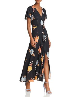 FRENCH CONNECTION Shikoku Jersey Maxi Dress in Black Multi
