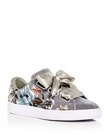 newest b1185 0a80c PUMA Women's Basket Heart Hyper Embroidered Velvet Lace Up ...