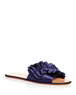 Loeffler Randall Women's Rey Satin Ruffle Slide Sandals