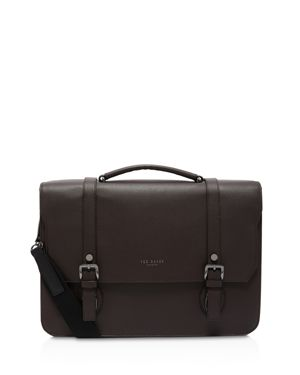 Nevadaa Grained Leather Satchel in Chocolate