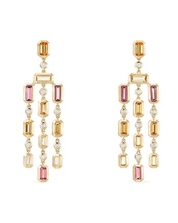 David Yurman - Novella Earrings in Spessartite Garnet, Pink Tourmaline & Yellow Beryl with Diamonds